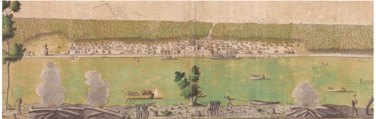 A view of New Orleans from this spot, painted by Jean-Pierre Lassus in 1726.  Enslaved people at the Company Plantation are shown in the foreground. One is battling an alligator; others are rowing boats across the river, chopping wood and carrying timber.